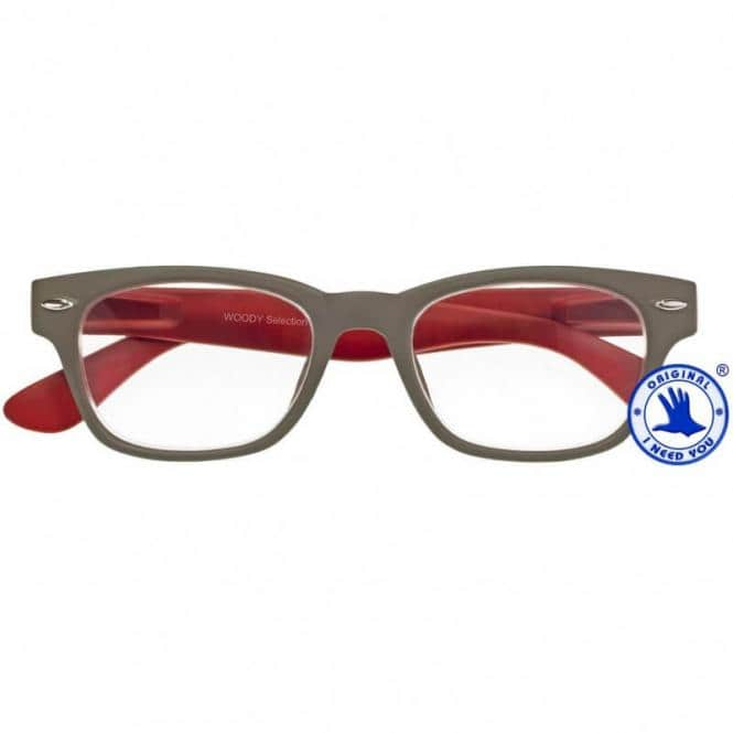 Lesebrille mit Etui Woody Selection Grau-Rot